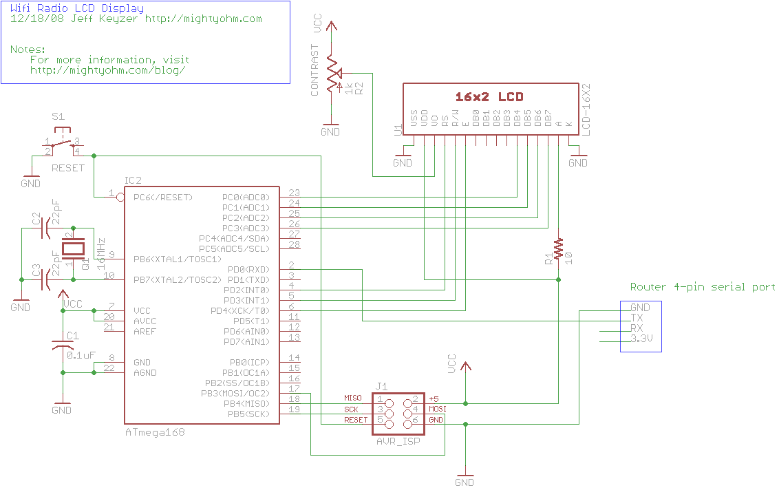 Wifi Radio LCD Display Schematic