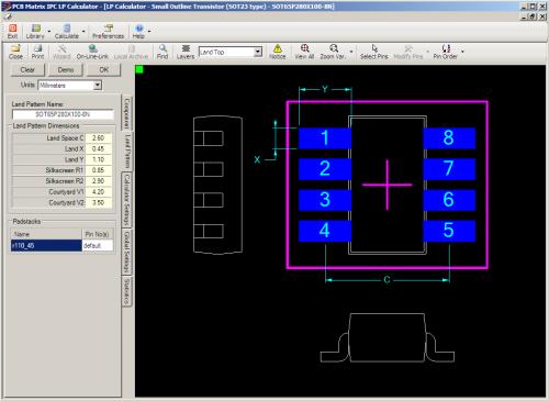 Thin SOT23 8-pin Package Land Pattern Screenshot