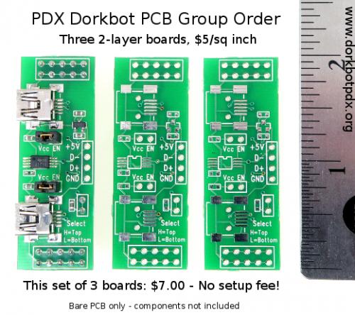 Three 2-layer  boards, $5/sq inch.  No setup fee!